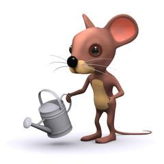 Vector 3d Funny cartoon mouse gardener