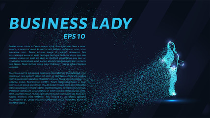 Business woman of the particles. Business woman consists of small circles. Business woman breaks down into molecules.