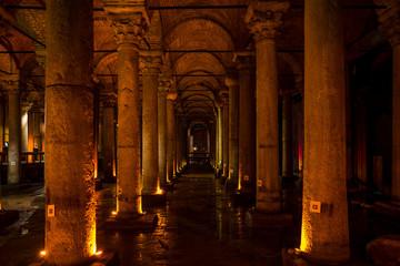 The Basilica Cistern Sunken Palace in Istanbul, Turkey.