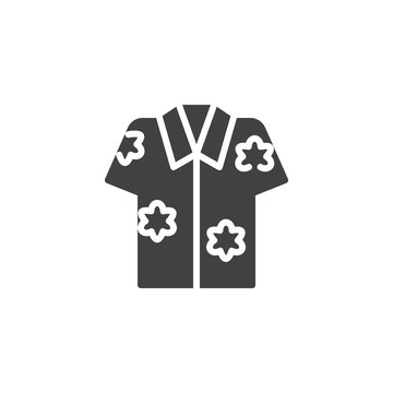 Hawaiian shirt vector icon. filled flat sign for mobile concept and web design. Aloha shirt simple solid icon. Symbol, logo illustration. Pixel perfect vector graphics