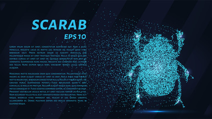 The scarab of the particles. The scarab is made up of little circles and dots.