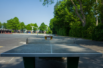 Table Tennis stone table at Altengroden School in Wilhelmshaven, Germany.