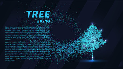 The tree of particles. Tree wind tears of small circles and dots. vector illustration.