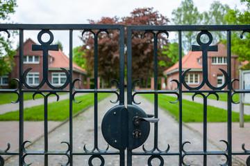 The entrance to the Ehrenfriedhof in Wilhelmshaven, Germany.