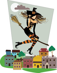 witch on a broomstick, flying over rooftops in the city, vector illustration of halloween
