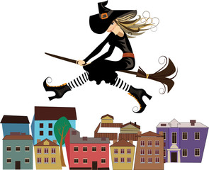 cheerful witch on a broomstick, flying over rooftops in the city