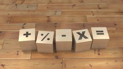 Arithmetic signs school play cubes. 3d illustration