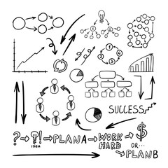Vector Business Doodles Collection, Black Drawings Background.