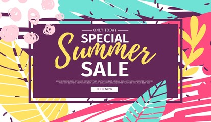 Template design web  summer banner offer. Summer flyer for season offer on abstract brush background with flower decoration and graphic leaf element. Vector.