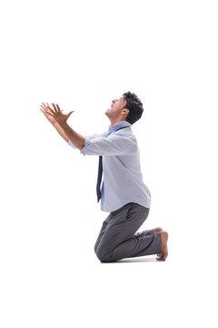 Barefooted businessman isolated on white background