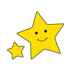 Big and small yellow smiley stars on white background