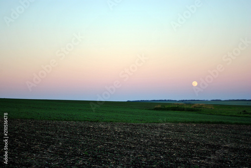 Plowed field and hills with green grass on horizon blue sky and