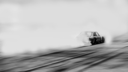 Blurred old car drifting, Sport car wheel drifting and smoking on blurred background. Motorsport concept.