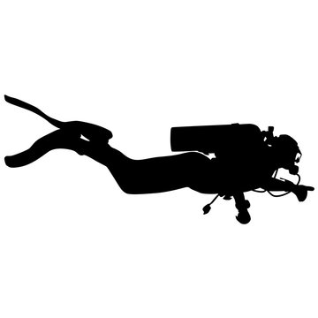 Black silhouette scuba divers on a white background