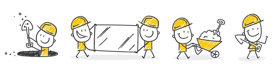 Strichfiguren / Strichmännchen: Bauarbeiter, Baustelle. (Nr. 257)