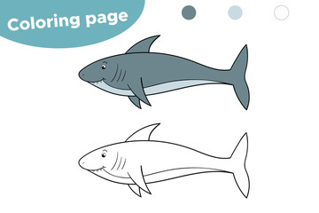 Coloring page for kids. Cartoon shark. Hand drawn. Vector illustration