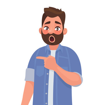 Surprised man points to something. Element for an incredible and shocking news or suggestion. Vector illustration