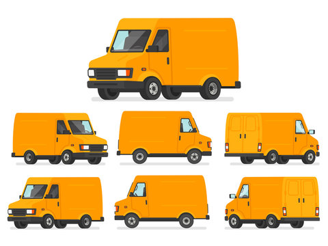 Yellow van set. Truck for transportation of goods. Vehicle for delivery, shown from different sides. Vector illustration