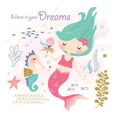 Cute little mermaid and sea life cartoon