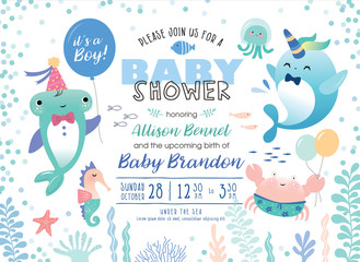 Baby shower under the sea theme invitation card with cute marine life cartoon character