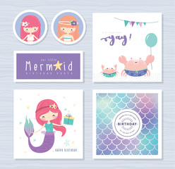 Set of mermaid and marine life greeting cards/ stickers design