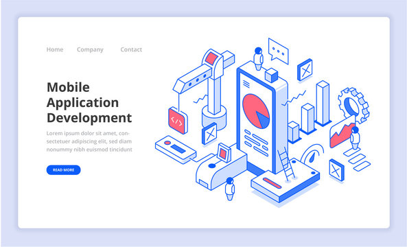 Mobile Application Development Isometry Illustration