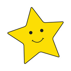 Big yellow smiley stars on white background