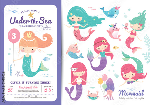 Birthday party invitation card template with cute little mermaid birthday party invitation card template with cute little mermaid marine life cartoon character and birthday stopboris Gallery