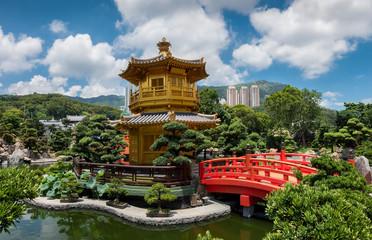 Der goldene Pavillon der Absoluten Perfektion in den Nan Lian Gärten, Hong Kong
