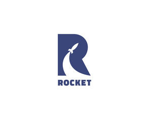 Creative rocket in R letter vector logo design. Vector sign. Character logotype symbols. Logo icon design for website
