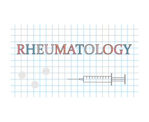 Rheumatology word on checkered paper sheet- vector illustration