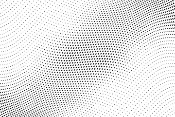 Wavy dotted lines. Halftone background. Futuristic panel. Vector illustration