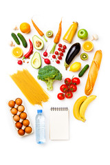 Photo of apples, oranges, pasta, broccoli, avocado, carrots, blank notepad, eggs, bottle of water