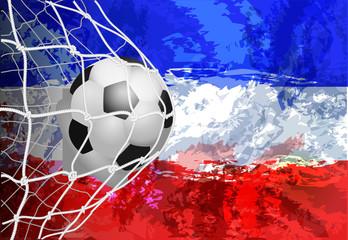 Soccer ball in the net with flag Yugoslavia vector illustration of modern template design