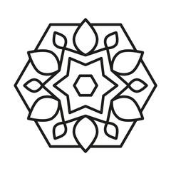 Simple Mandala. Vector Lines.