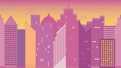 Horizontally seamless  illustration of cityscape. Night. Colorful. Panoramic view.