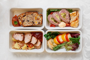 Assortment of airline or railroad food