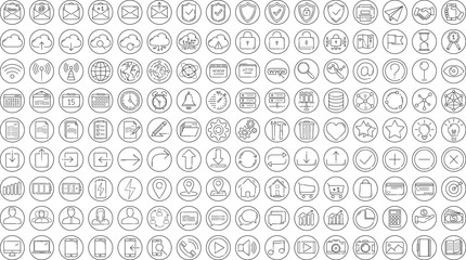Wall Mural - Black business thin line icons set on white background