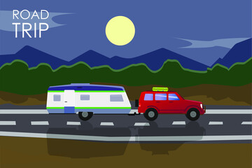 Summer road trip concept. Red car with a camper trailer riding on the road at night.