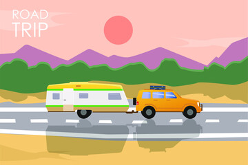 Summer road trip concept. Yellow car with a camper trailer riding on the road at sunset.