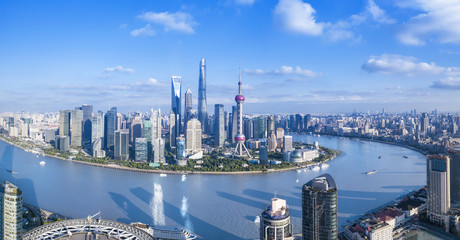 Fotorolgordijn Shanghai Panorama view of Shanghai city.