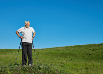 Old sportsman having white beard standing with tracking sticks on green hill. Wearing white polo shirt with dark blue stripes,black trousers, sneakers. Looking at side. Cardioexercises outdoors.