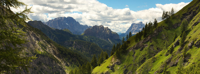 Mountain valley with peaks of Monte Civetta and Monte Pelmo, Dolomites, Italy