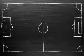 Football tactic plan on Blackboard with chalk doodle