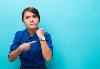 Angry woman check her watch