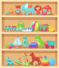 Cartoon toys on wood shelves. Funny animal baby piano girl doll and plush bear. Kids toy shopping shelf vector collection