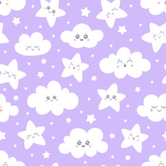 Seamless purple smiling stars and clouds pattern for baby pajamas fabric. Happy sleeping smile star sky. Vector background