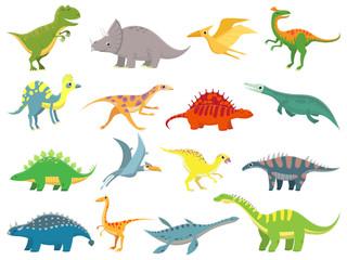 Cute baby dinosaur. Dinosaurs dragon and funny dino character. Fantasy cartoon dinosaurs vector illustration set