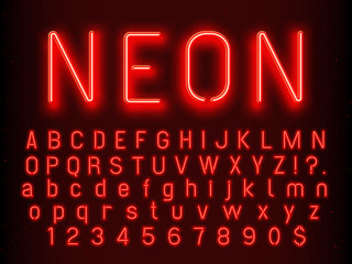 Bar or Casino glowing sign elements. Red neon letters and numbers with fluorescent light vector illustration Fotomurales