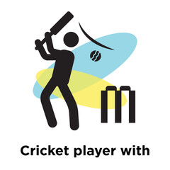 Cricket player with bat icon vector sign and symbol isolated on white background, Cricket player with bat logo concept